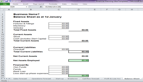BS08 Self-calculating Financial Documents Template