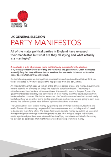 what is a political party manifesto by mrshutchison teaching resources tes. Black Bedroom Furniture Sets. Home Design Ideas