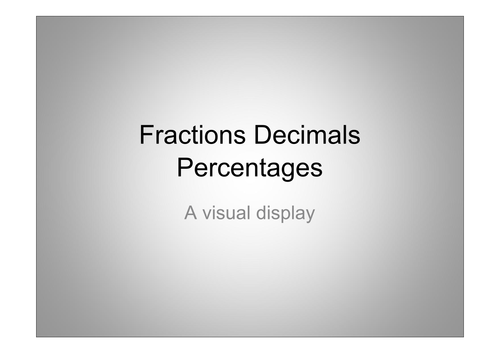 A labour of love: forty nine images of fractions/decimals/percentage plus activity sheets