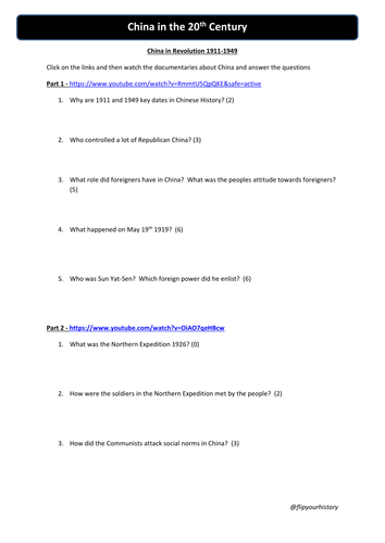 China in Revolution 1911-49 Documentary and Worksheet