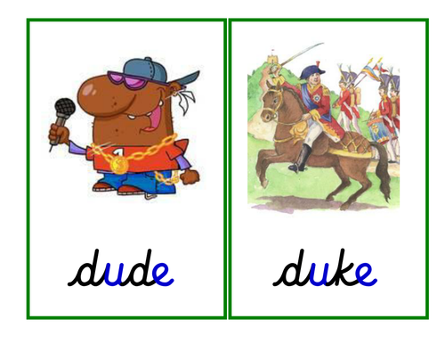 Phase 5: u-e grapheme [magic 'e' - split digraph]: table cards, pictures, game and ppt.