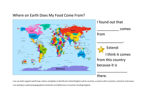Where On Earth Does My Food Come From by judesavill - Teaching ...