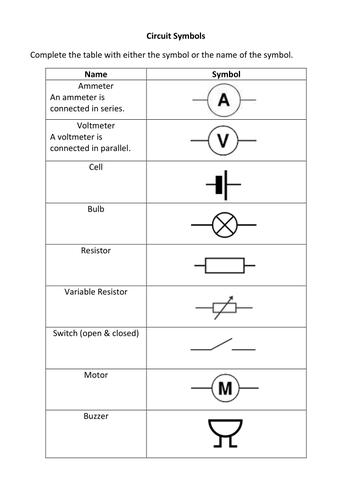 circuit diagram symbols grade 9    circuit       symbols    exercise by liamfricker teaching     circuit       symbols    exercise by liamfricker teaching