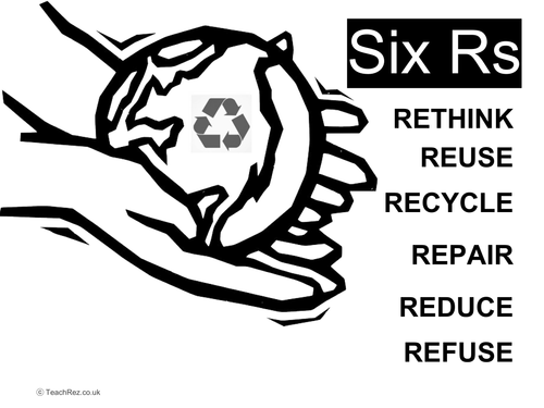 Six Rs of Sustainability - Whole Lesson and Differentiated Worksheets