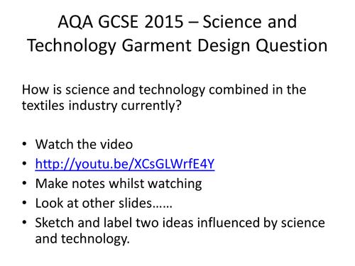 AQA GCSE Textiles Design Question 2015