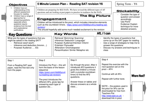 Year 6 Reading SAT revision lesson