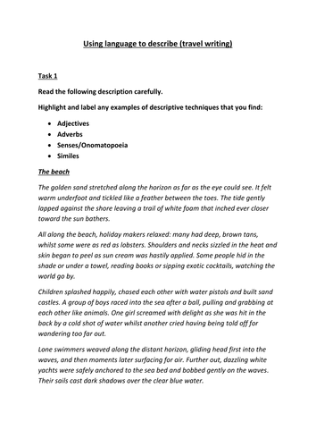 Descriptive Writing Guidance By Cooksley Teaching Resources Tes