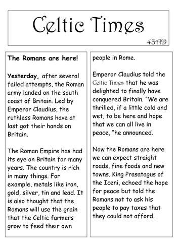 roman invasion of britain newspaper model recount text by