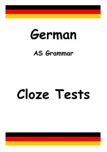 German A-Level Grammar: Cloze Test Gap Fill by Languagesresources ...
