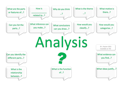 Analysis Higher Order Thinking Questions Pack - Bloom's Taxonomy