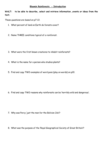 6 x Reading Comprehension question sheets for Bloomin Rainforests (Horrible Geography series)