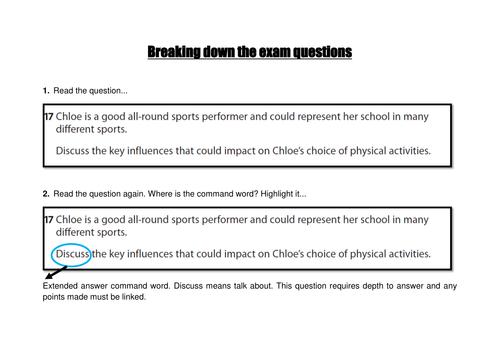 GCSE PE Edexcel - Breaking down the exam question
