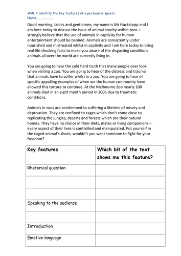 identifying the key features of a persuasive speech by jrhuckstepp  identifying the key features of a persuasive speech by jrhuckstepp teaching resources tes