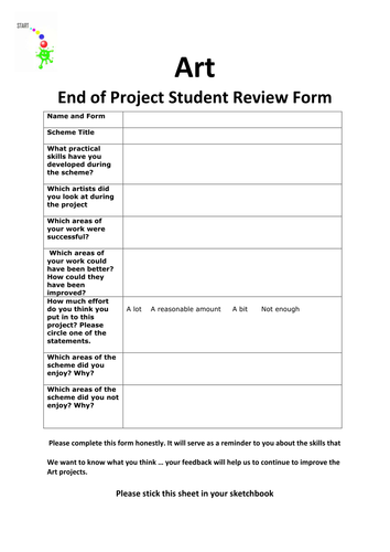 Classroom Design Questionnaire ~ End of art project student feedback form updated by