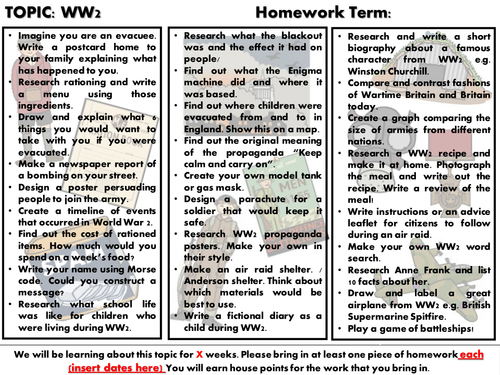 WW2 Homework KS2
