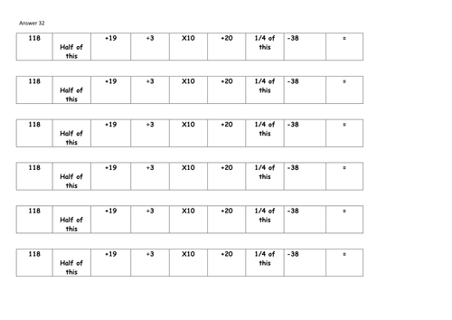 9x mental maths challenge strips upper KS2