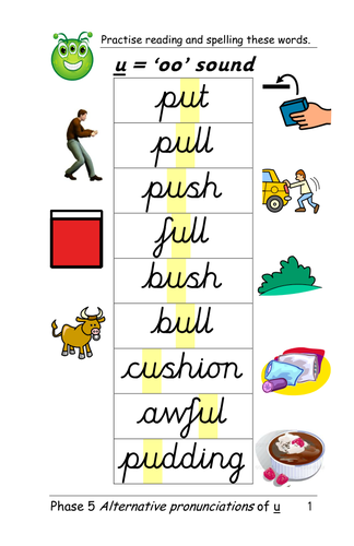 Letter Words With U In The Middle With Pictures