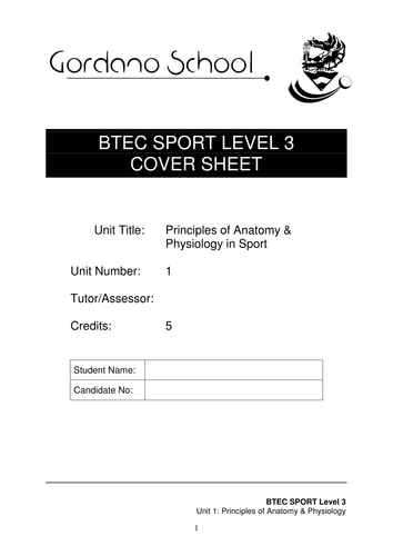 Edexcel BTEC Sport Level 3 Assignment Brief for Unit 1 - Principles ...