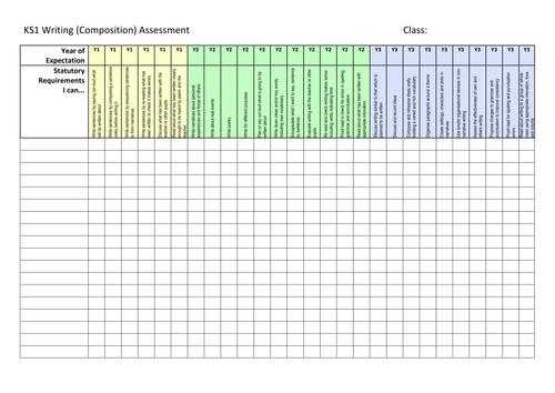 New Curriculum KS1 Whole Class Writing Assessment Sheet
