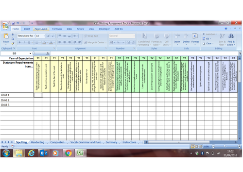 New Curriculum KS1 English (Writing) Assessment Spreadsheet Tool