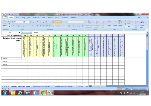 New Curriculum KS1 Mathematics Assessment Spreadsheet Tool