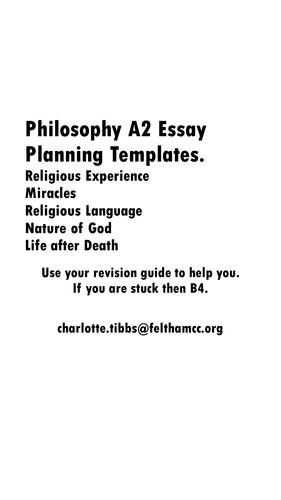 All A2 OCR Philosophy of Religion Past Questions in Planning Booklet