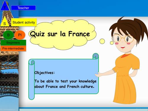 General culture French Quiz Powerpoint and student booklet / Quiz culture general en francais