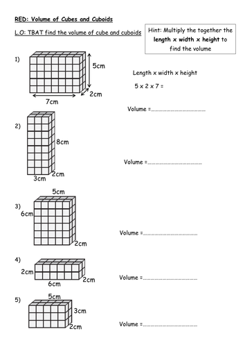Cuboid Worksheet: finding the volume of a cuboid rag by rishnas teaching resources ,