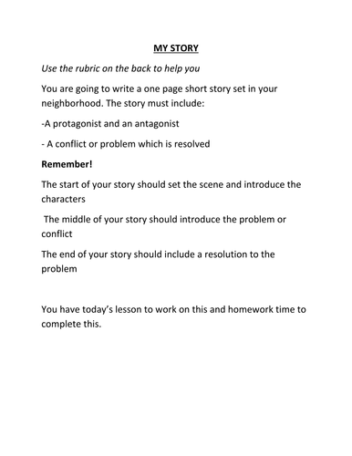 My Story: Writing your own short story