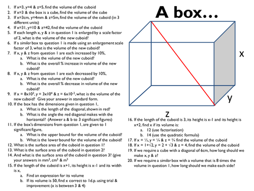 General Higher Tier GCSE Maths Revision - based around a box... Printable PowerPoint with answers