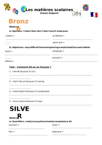 School Subjects: Bronze, Silver Gold Worksheet