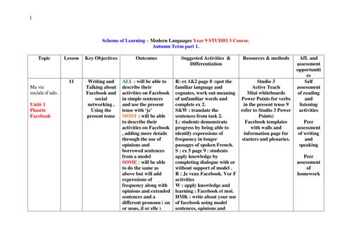 Year 9 Studio3 Scheme of learning