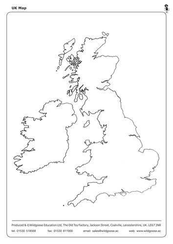 Label The UK And Outline Maps By WildgooseEducation Teaching - Unlabelled map