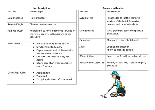 business studies job description and person specification by felicitysasha teaching resources tes