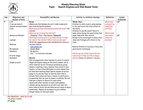 Lesson Planner Resources 5 June