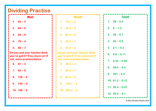 Dividing Decimals Worksheet by Stacy3010 Teaching Resources TES – Worksheet on Dividing Decimals