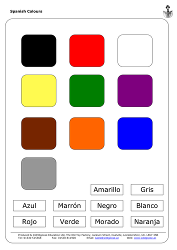 French and Spanish Numbers and Colours