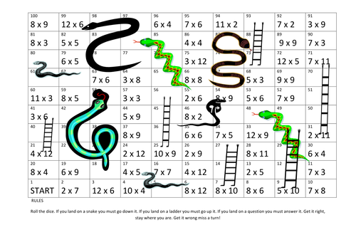 Snakes & Ladders 2 in one game: Multiplication & Division by ...