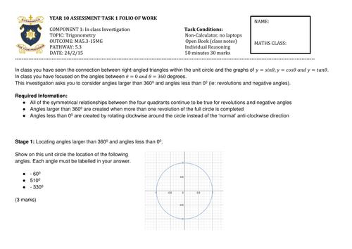 Trigonometry Assessment Task - Reasoning & Understanding