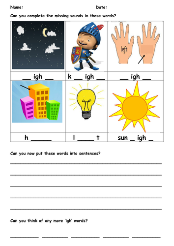 IGH Trigraph worksheet by AimeeBrown1201 - Teaching Resources - Tes