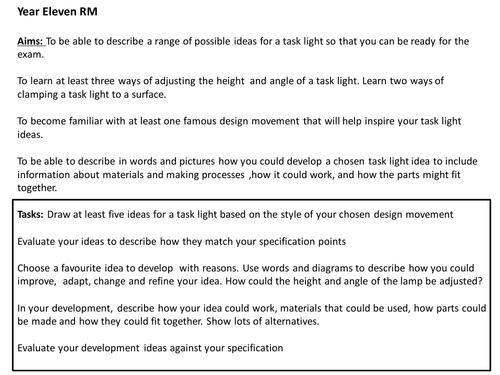 Year eleven Resistant Materials Task Light Development