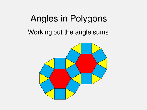 Maths Shape KS3 KS4 Angle Sum of Polygons. Investigation, illustrations and questions.