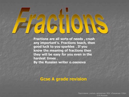 Gcse revison fraction and ratio