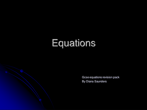 Gcse equation revision