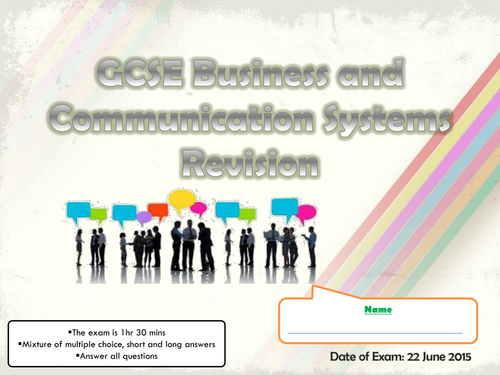 BCS - Business and Communication Systems A265 Revision Document