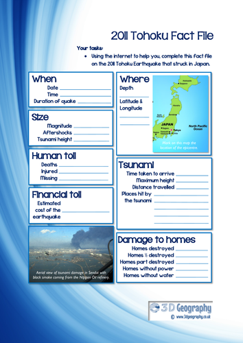 Tohoku Earthquake Fact File By Tokyoboy Teaching Resources
