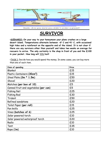 Survival In The Desert Team Building Exercise