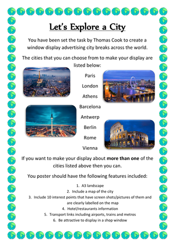 KS3 ICT or Geography Let's Explore a City Task