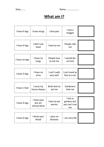 What am I quiz sheet