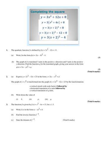 Revising Quadratic Graphs etc